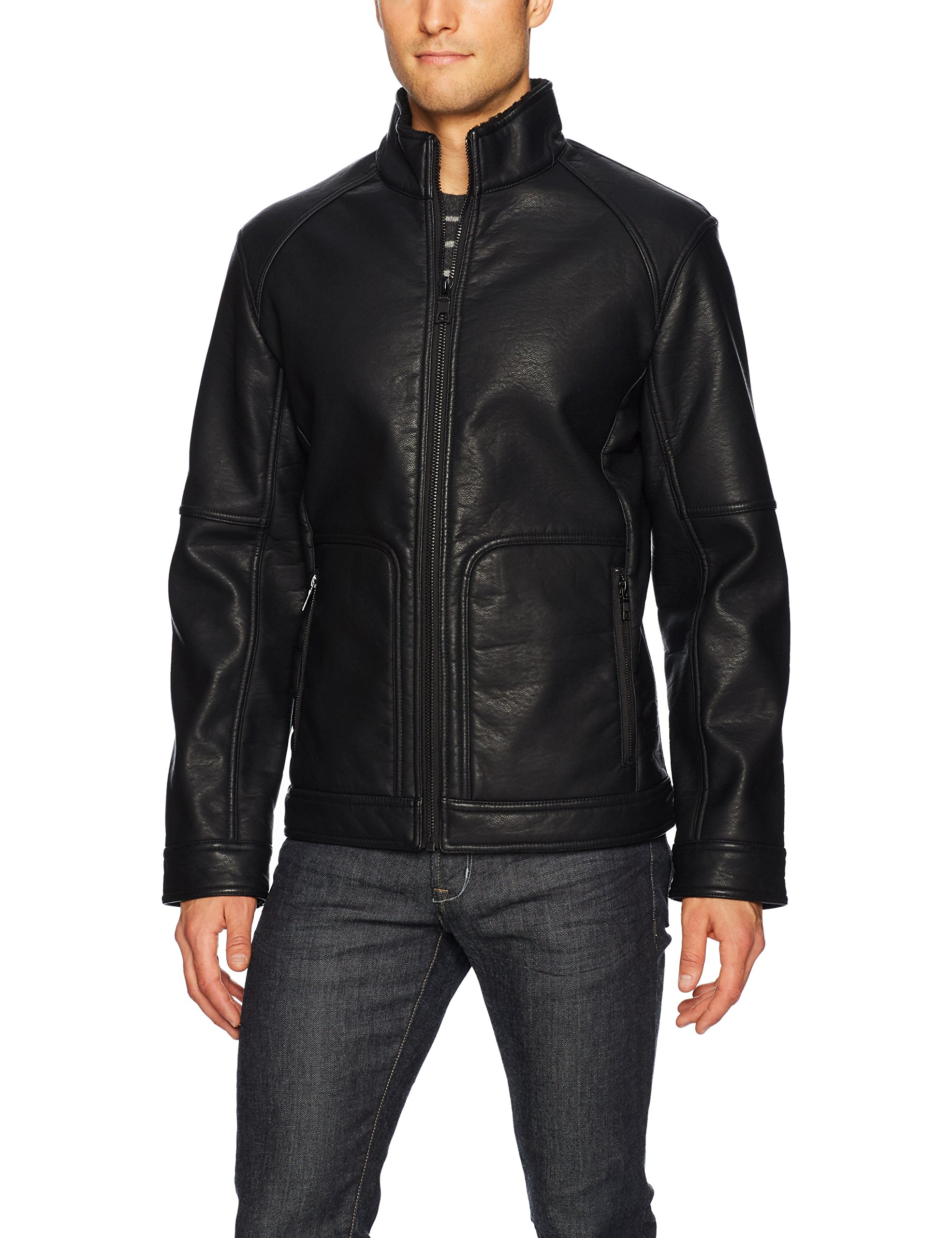 Nautica Men's Faux Leather Bonded Sherpa Jacket, Black, S by Nautica