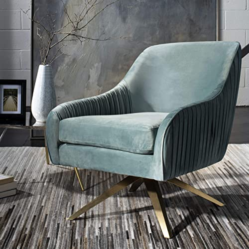 Safavieh Couture Home Tiffany Modern Glam Seafoam Velvet Pleated Swivel Arm Chair