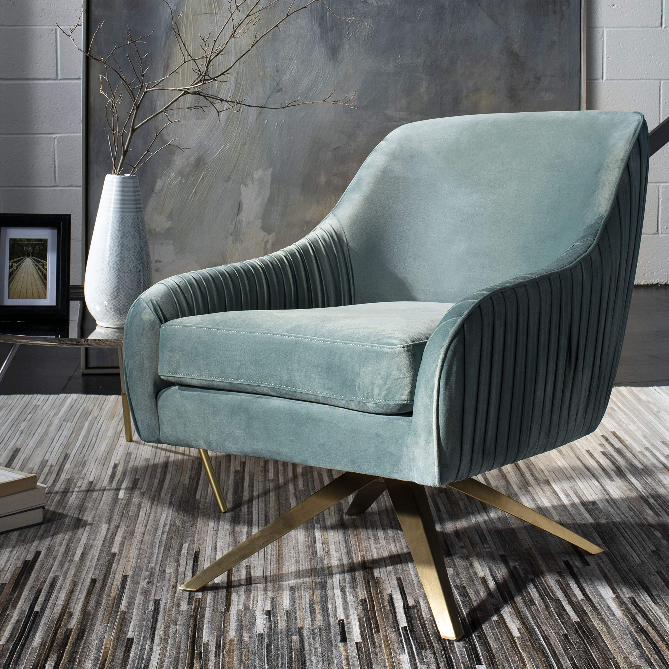 Safavieh Home Collection Tiffany Pleated Swivel Seafoam Arm Accent Chair Gold by Safavieh