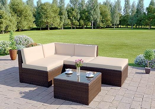 rattan wicker weave garden furniture conservatory modular corner sofa set includes garden furniture cover brown
