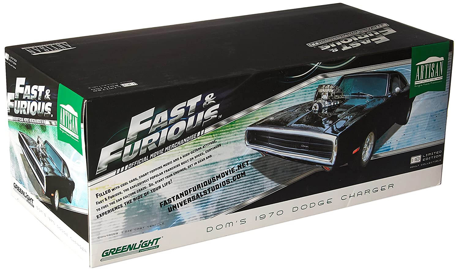 Greenlight Collectibles  –   Modellino Dodge Doms Charger  –   Fast And Furious  –   1970  –   Scala 1/18, 19027, Nero