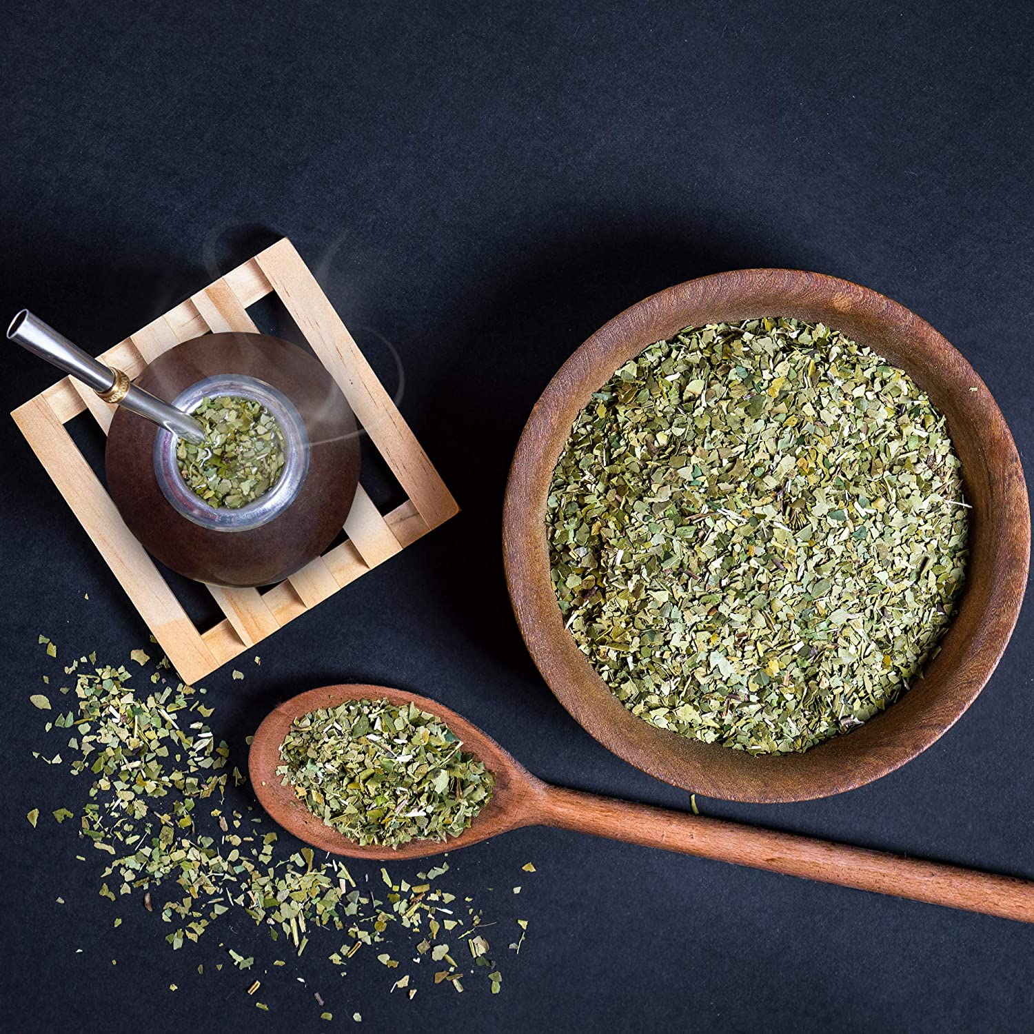 Yerba Mate Kit to drink Yerba Mate Black not cured bombilla Personal size Handmade mate gourd and straw