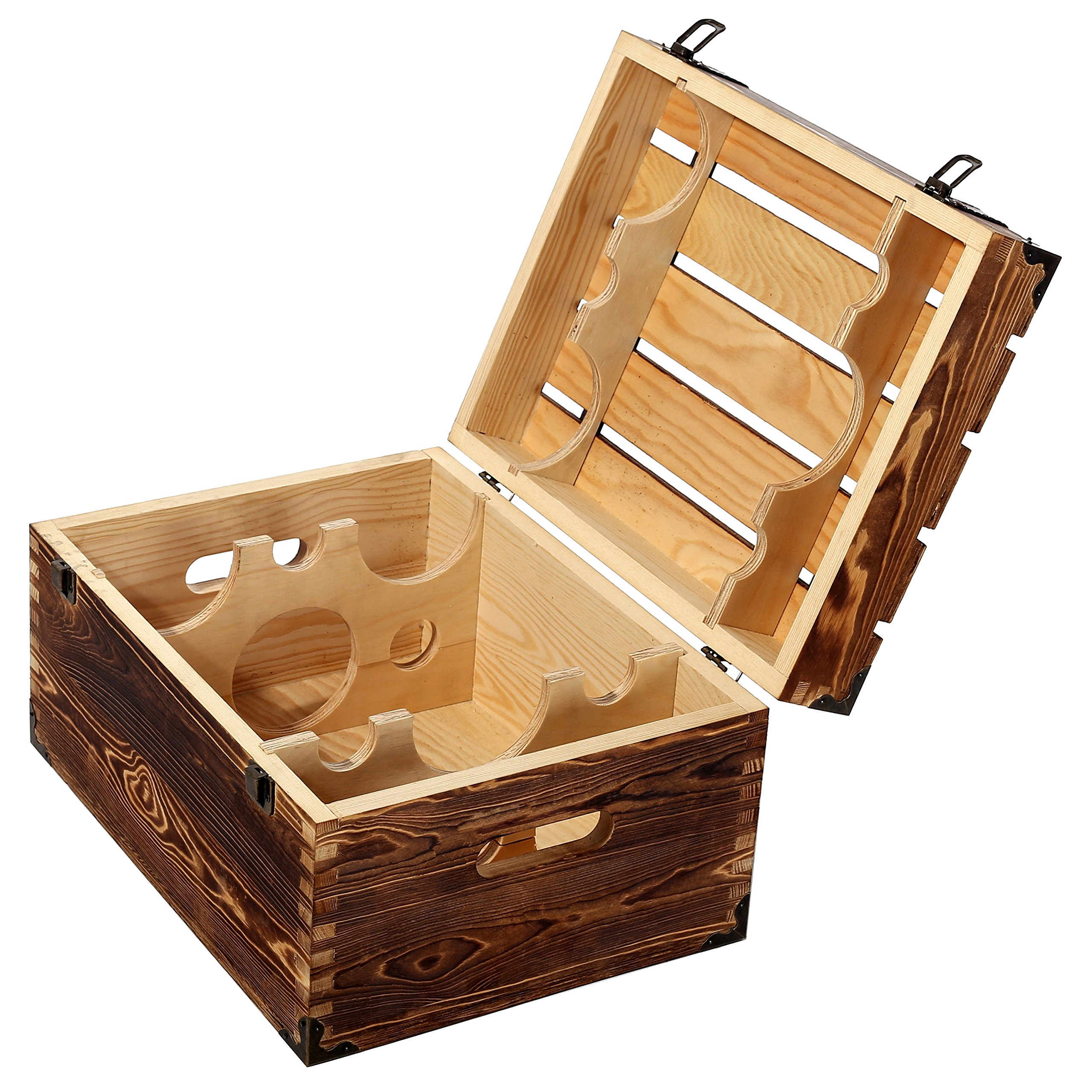 MyGift Wood 6 Wine Bottle Case, Rustic Storage Box with Handles and Lid, Brown by MyGift (Image #4)