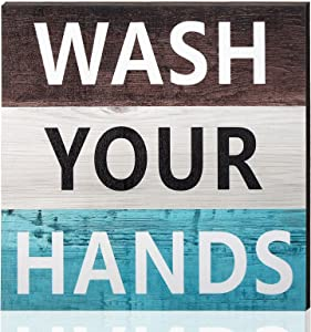 Jetec Rustic Bathroom Wall Decor Wooden Wash Your Hands Sign Primitive Country Farmhouse Bathroom Quotes Home Decor for Bathroom, Restroom, Kitchen, Home Decoration