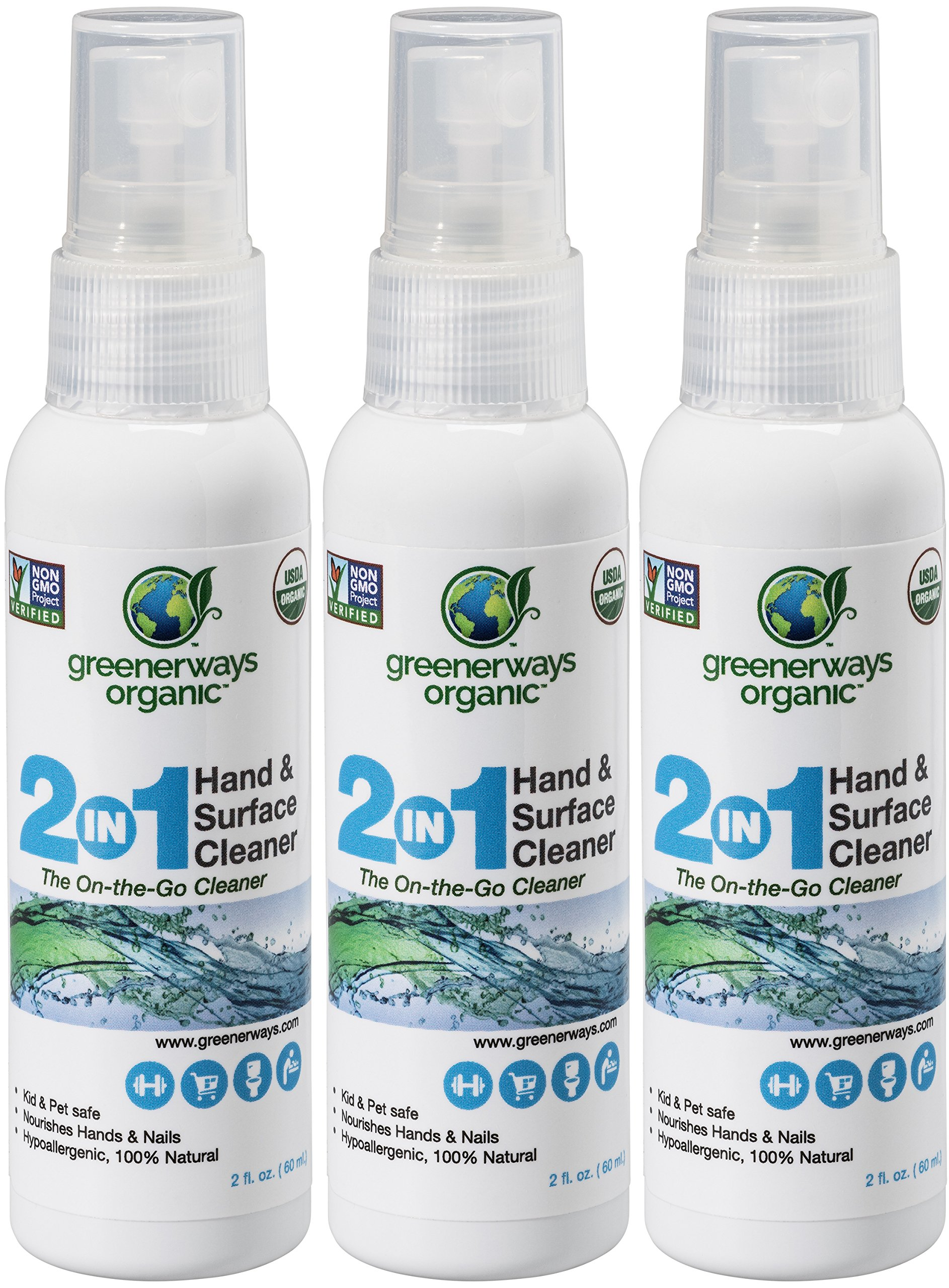 Amazon-Prime-Deals 2018 - Greenerways Organic Natural All-Purpose Cleaner, Multipurpose Cleaner, USDA Organic Non-GMO Hand Sanitizer Travel Size Household Multi-Surface Spray (3-Pack 2oz) MSRP 23.98