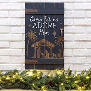 Glitzhome Rustic Christmas Wall Sign Decorative Hanging Wood Wall Art Sign Plaque Decor Distressed Nativity Sayings Wall Decor Sign Christmas Home Decor Accent, 24 x 14 Inches