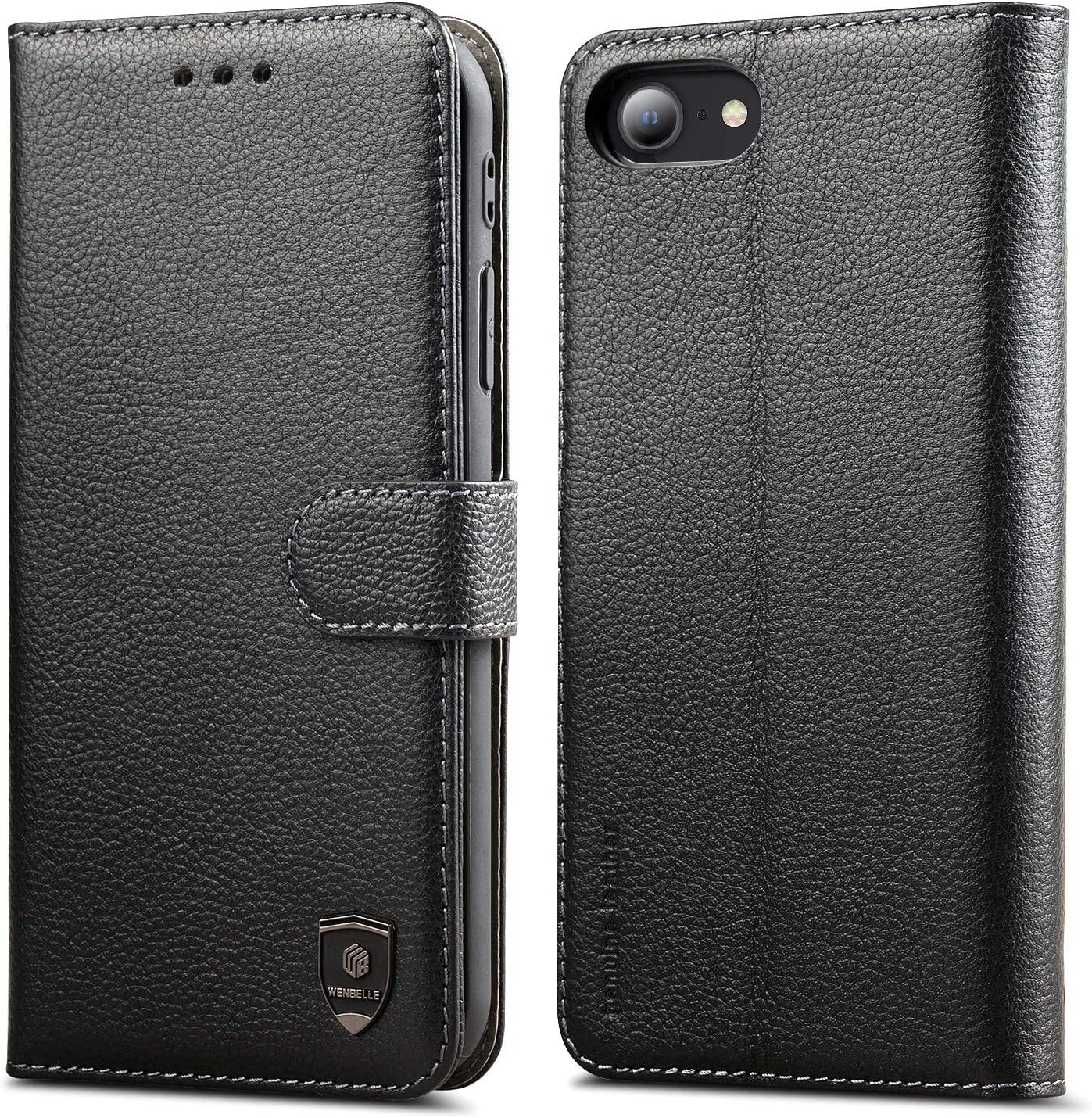 WenBelle for iPhone 7/iPhone 8/iPhone SE (2020 Edition) Case, Genuine Leather Wallet,RFID Blocking Protection,Viewing Stand,TPU Shockproof Flip Cases for Apple 7/8/SE 2nd Generation(4.7 inch) (Black)
