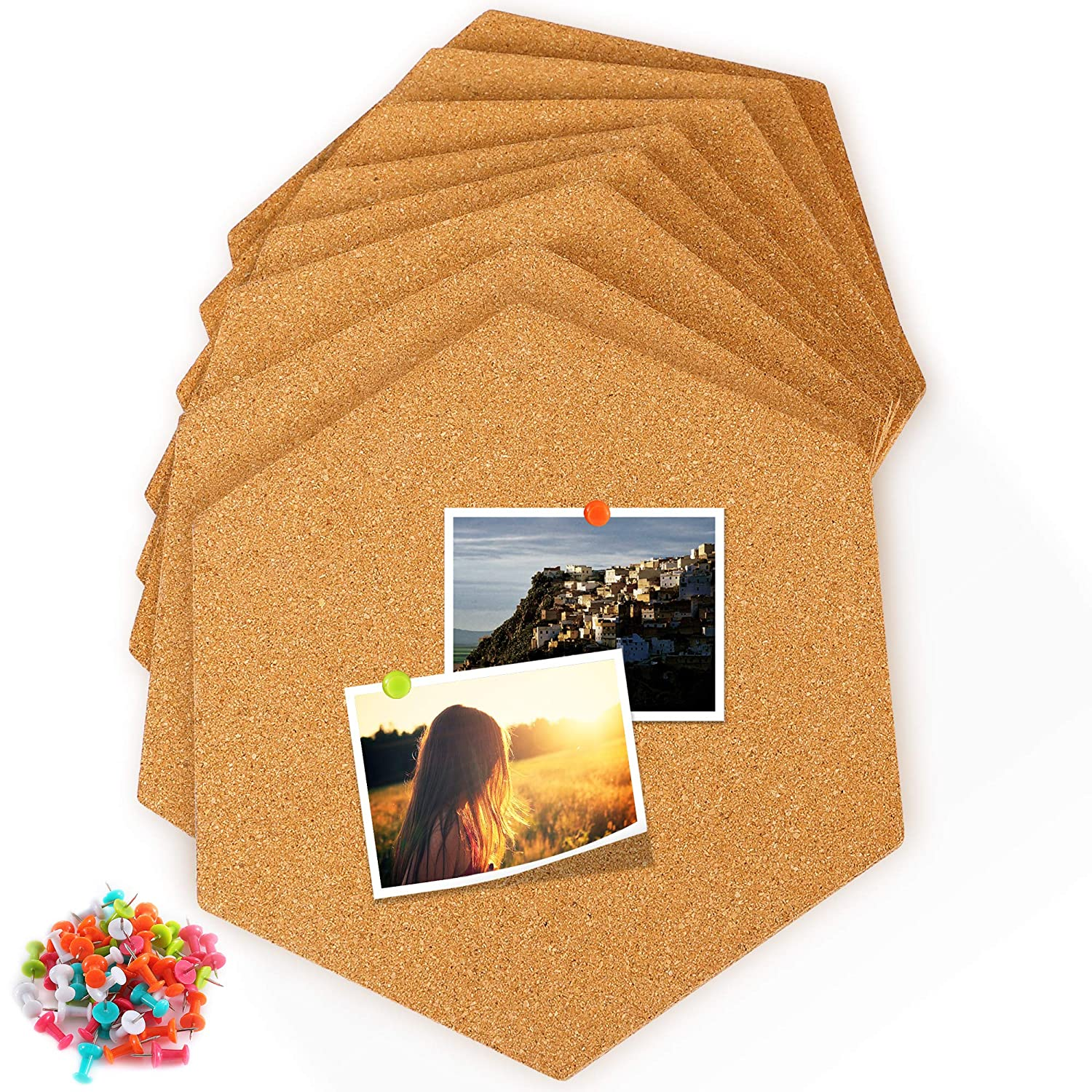 Famistar Hexagon Cork Board Tiles 8 Pack with Full Sticky Back, Mini Wall Bulletin Boards, Pin Board-Decoration for Pictures, Photos, Notes, Goals, Drawing, Painting-Bonus 50 Pins