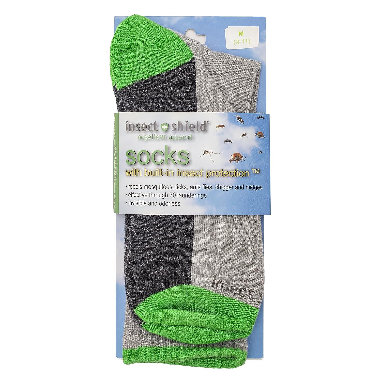 Insect Shield Sport Crew Sock 9-11 Grey Heather Medium