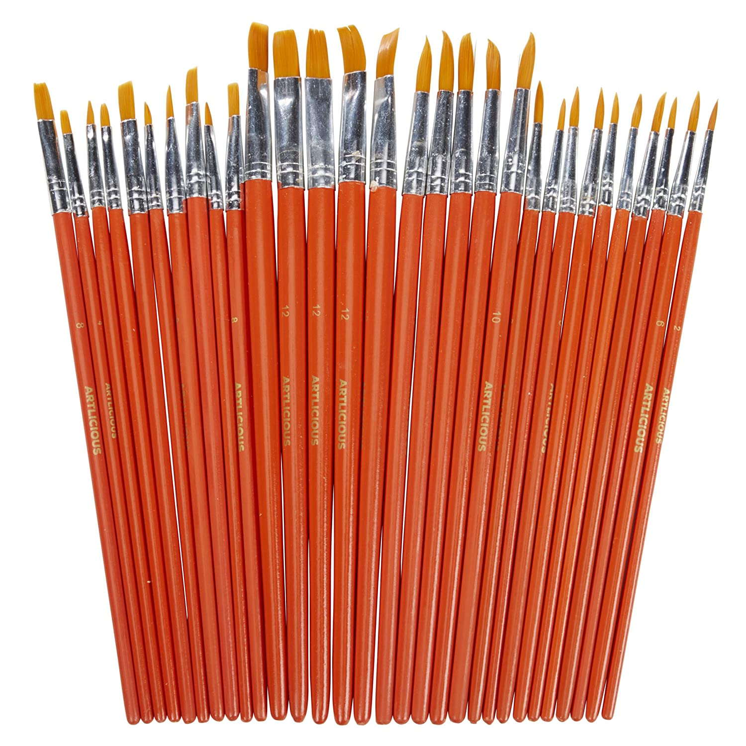 Artlicious - 30 All Purpose Golden Taklon Classroom Paint Brush Value Pack - Great with Acrylic, Oil, Watercolor, Gouache Sorillo Brands