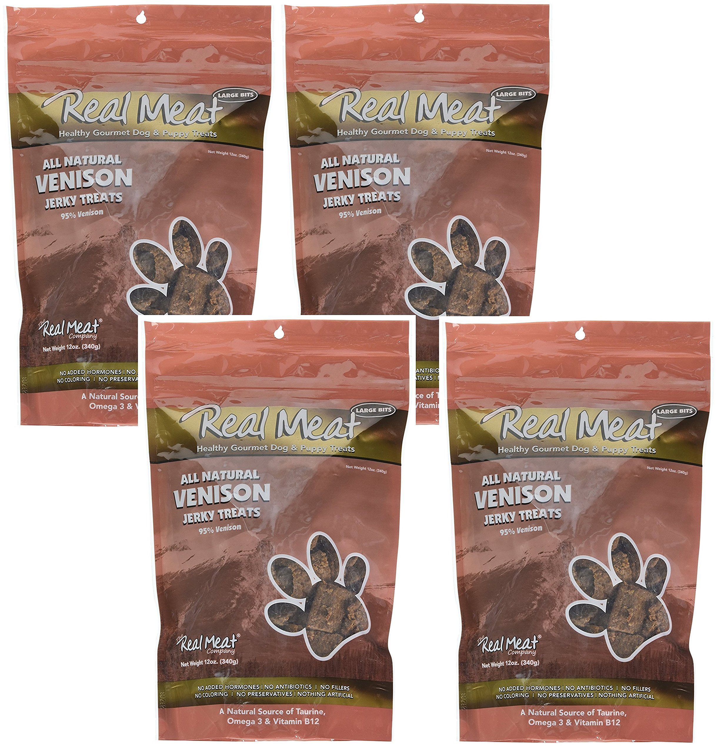 Real Meat Venison Jerky Dog Treats 12oz Pack of 4 (48oz total) by The Real Meat Company