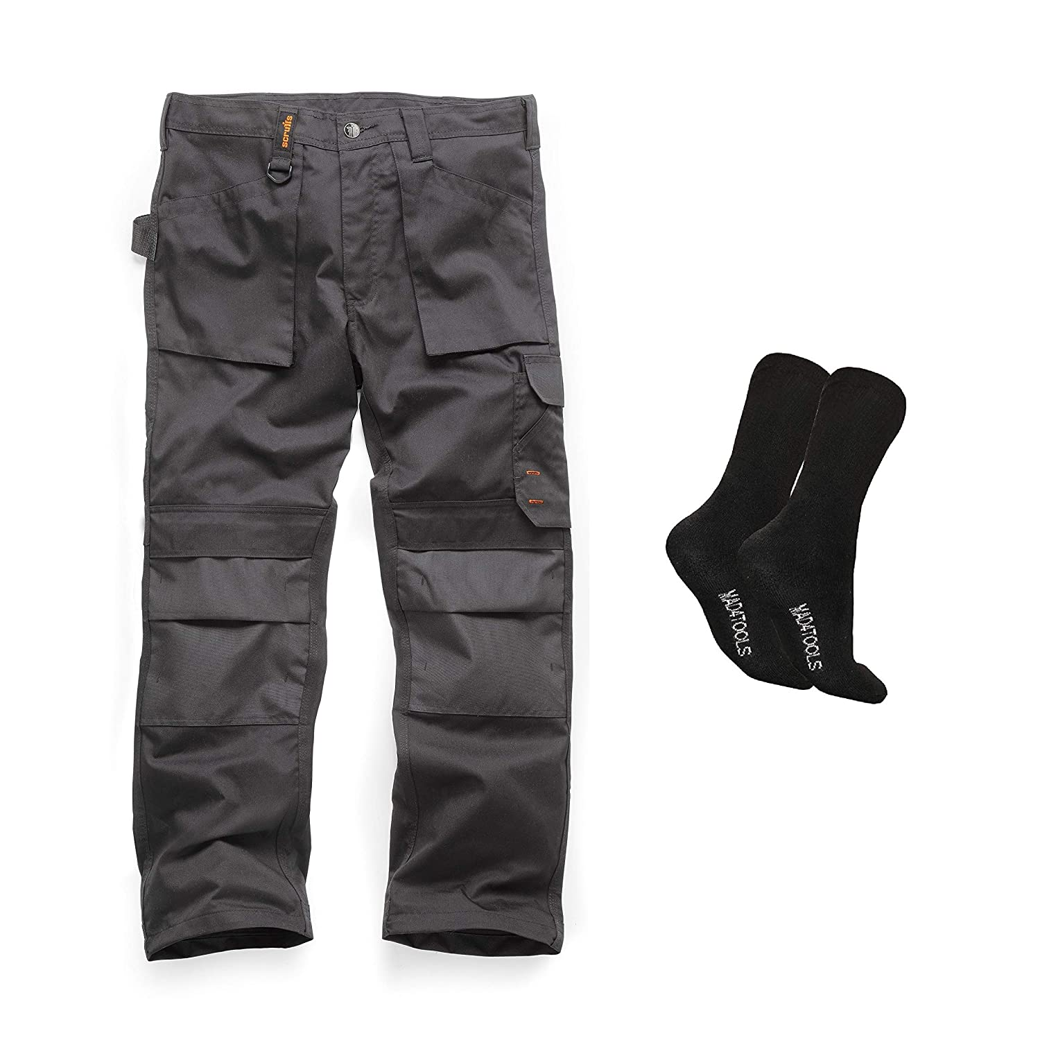 Scruffs Ripstop Twin Pack Trade Hardwearing Work Trousers with Multiple /& Knee Pad Pockets Black Various Sizes, Short, Regular and Long Leg