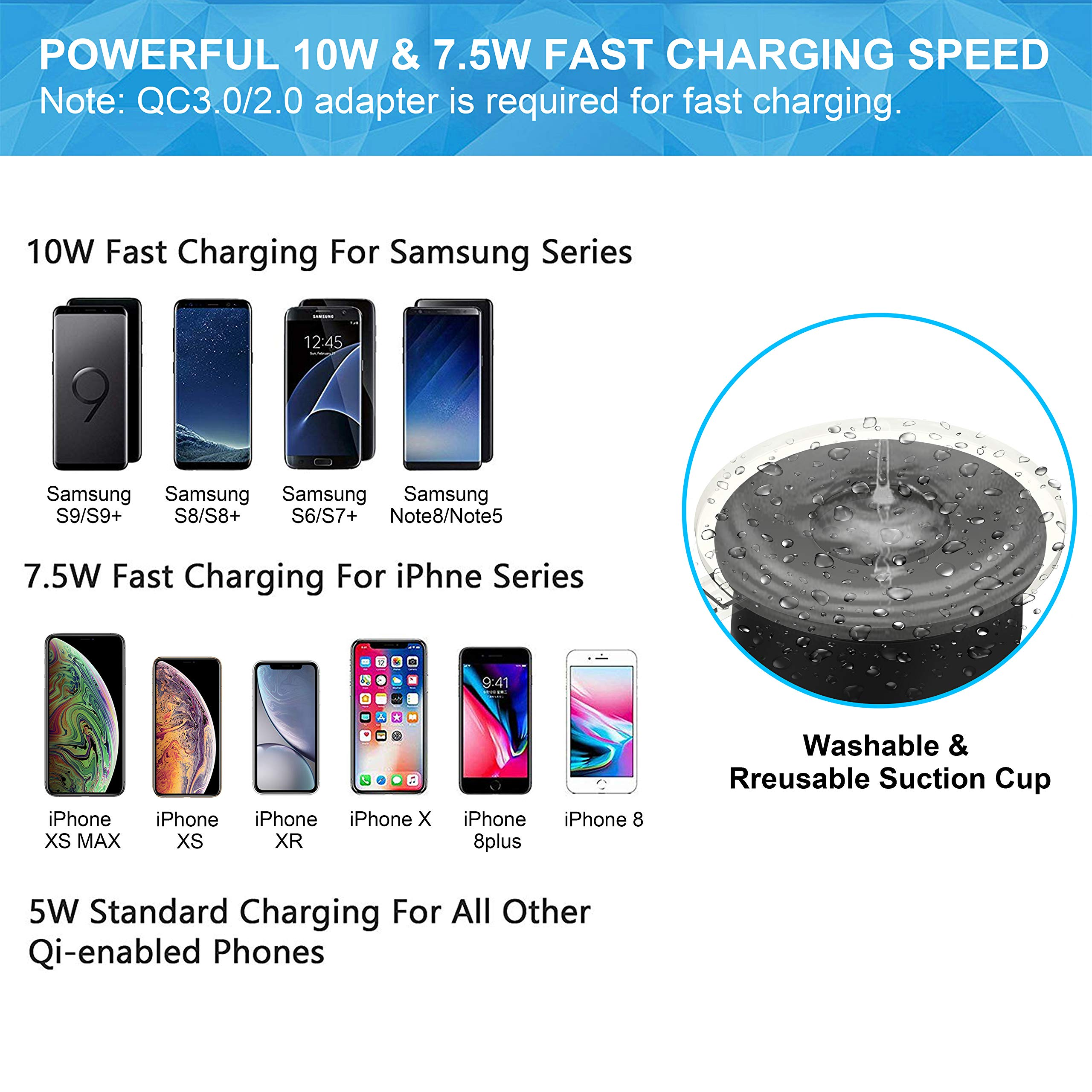 BESTHING 7.5W & 10W Wireless Charger, Dashboard & Windshield Car Mount, Cell Phone Holder, 10W Compatible for Samsung Galaxy S9/S9+/S8/S8+/Note 8, 7.5W Compatible for iPhone Xs Max/Xs/XR/X/ 8/8 Plus by BESTHING (Image #5)