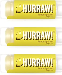 product image for Hurraw! Lemon Lip Balm, 3 Pack: Organic, Certified Vegan, Cruelty and Gluten Free. Non-GMO, 100% Natural Ingredients. Bee, Shea, Soy and Palm Free. Made in USA