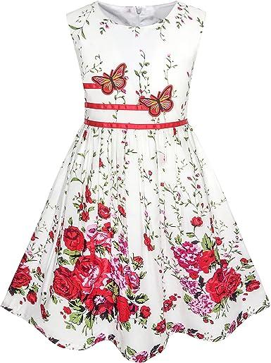 Sunny Fashion Vestido para niña Morado Rosa Flor Doble Corbata de ...