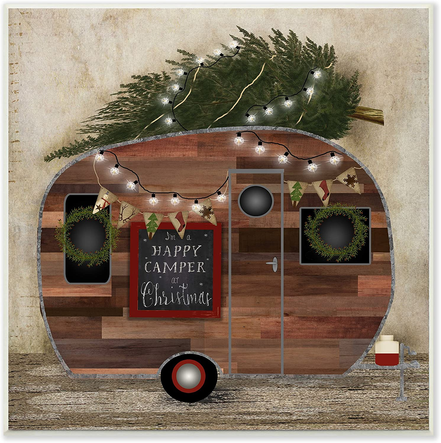 Stupell Home Décor Happy Camper At Christmas Wall Plaque Art, 12 x 0.5 x 12, Proudly Made in USA