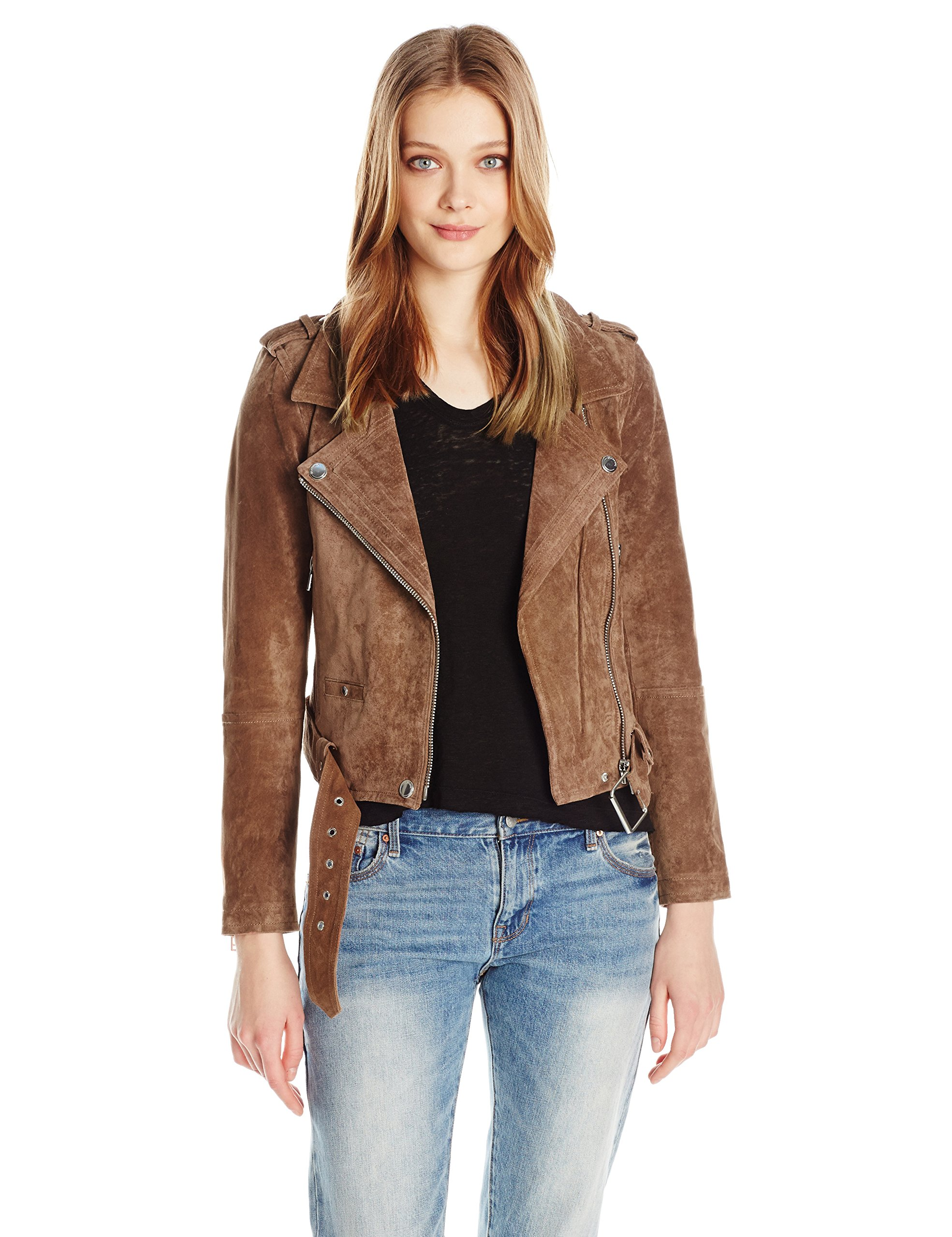 [BLANKNYC] Women's Real Suede Moto Jacket, Coffee Bean, X-Small