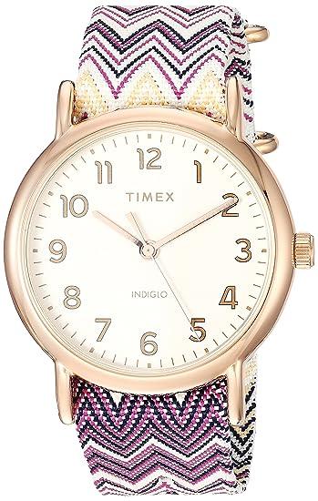 edcfb6c6194e Timex Women s TW2R59000 Weekender 38 Purple Chevron Fabric Slip-Thru Strap  Watch