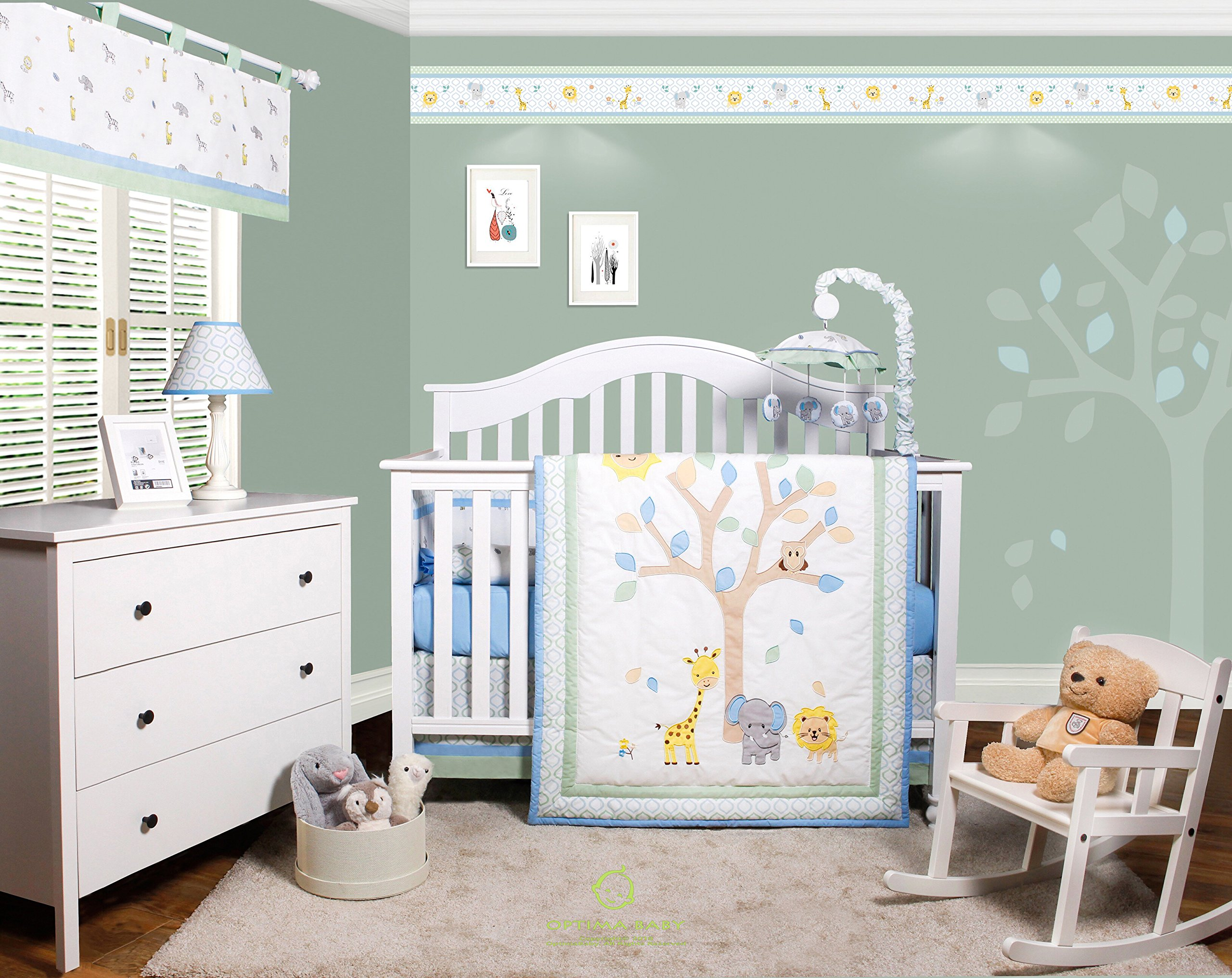 GEENNY OptimaBaby Safari Jungle Animals 6 Piece Baby Nursery Crib Bedding Set