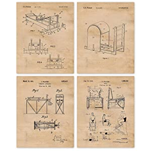 Vintage Pilates Machines Patent Art Poster Prints, Set of 4 (8x10) Unframed Photos, Great Wall Art Decor Gifts Under 20 for Home, Office, Man Cave, Garage, Student, Teacher, Health & Fitness Fan