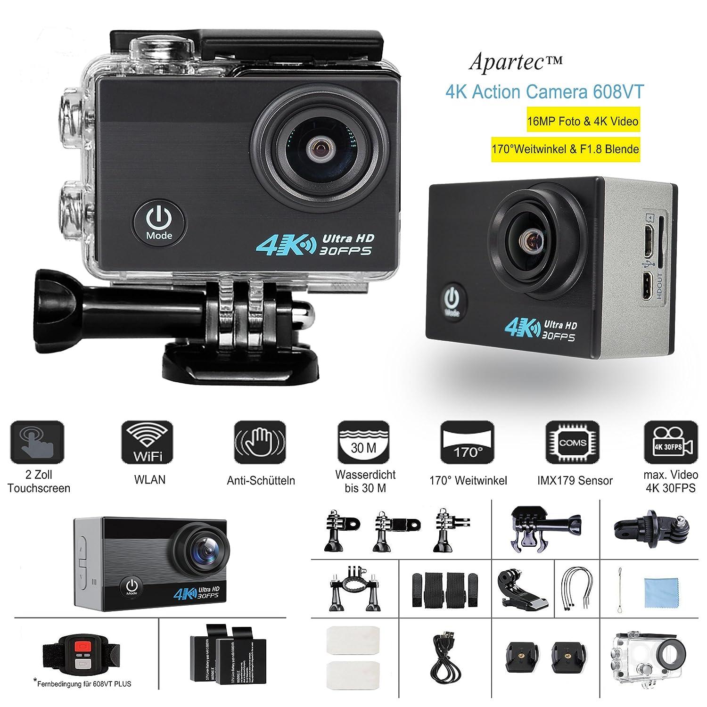 Apartec Action Kamera 4K 608VT WiFi Sport Cam 16MP Ultra Full HD 170°Weitwinkel Unterwasser Kamera   Helmkamera   Selfiekamera   Streamingkamera mit Touch Screen, 2x Akkus und Zubehör