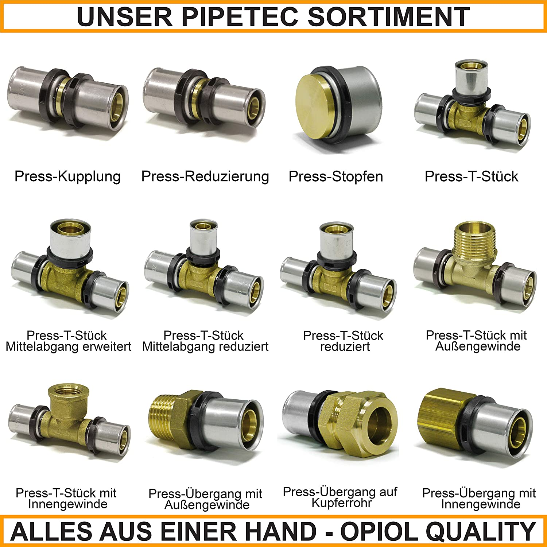 Pipetec 16 x 2-1//2, 1 unidad, lat/ón DVGW para tubos de calefacci/ón Escuadra de uni/ón con rosca interior