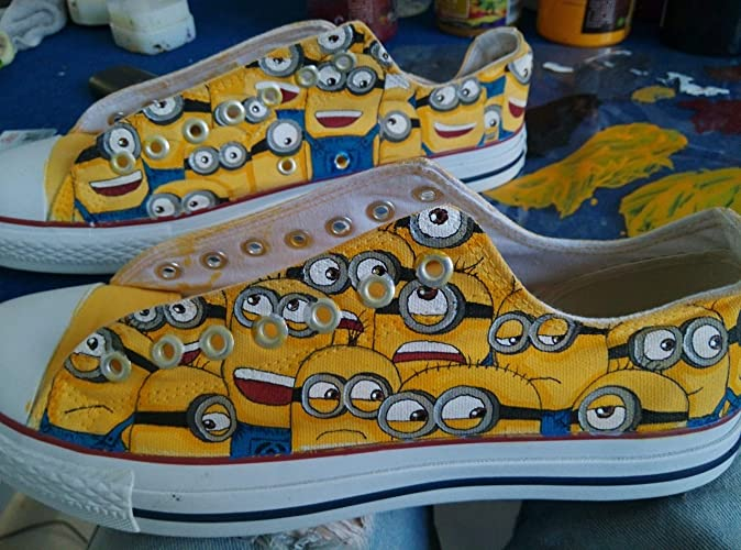 81fa2c057e Amazon.com  Minions Custom Sneakers For Men Women Hand Painted Lowtop Canvas  Shoes  Handmade