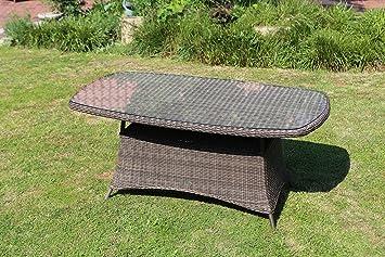 Destiny Luna 180 x 100 Table de jardin ovale en résine tressée table ...