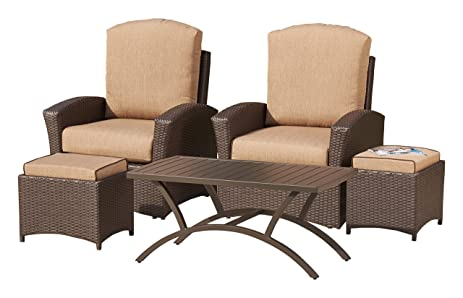 Mission Hills Furniture Sunbrella Outdoor Deep Seating Set (2 Chairs 1 Table  2 Ottomans) - Amazon.com : Mission Hills Furniture Sunbrella Outdoor Deep Seating