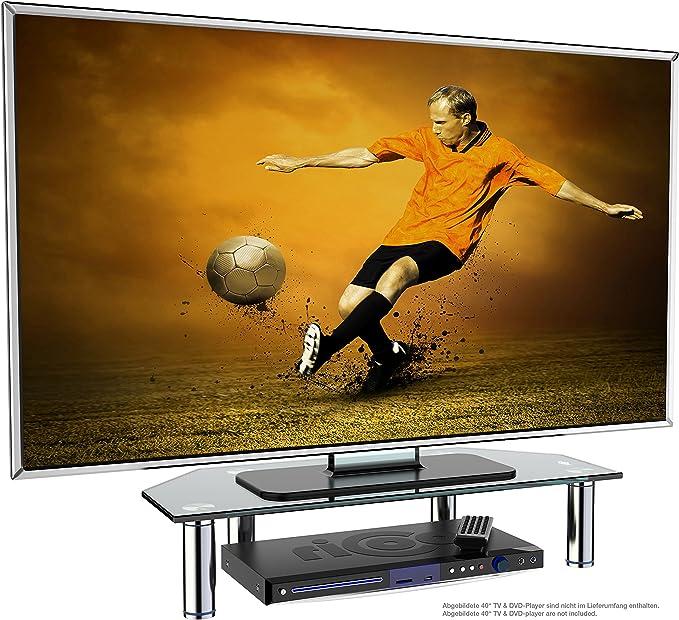 Ricoo Fs6026 B Tv Board Tisch Aufsatz Glas Schwarz 60x26x10 Cm Bildschirm Erhöhung Hi Fi Rack