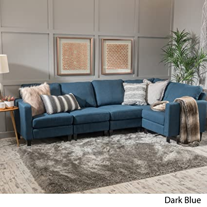 Amazon.com: GDF Studio 300116 Carolina Dark Blue Fabric Sectional ...