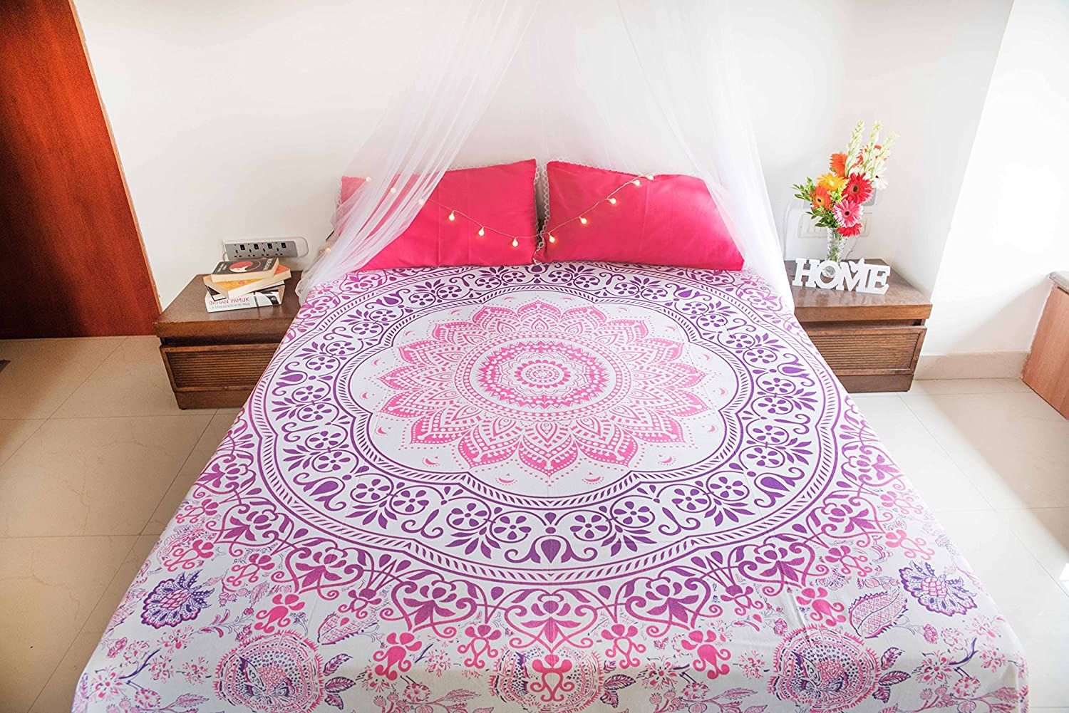 Champagne Mandala Tapestry Bedspread with Pillow Covers, Bohemian Ombre Tapestry Wall Hanging, Picnic Blanket or Hippie Beach Throw, Indian Bedding Set for Bedroom, Pink Purple Full Size Boho Spread