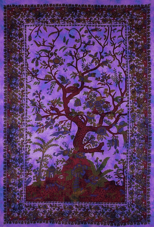 L/&M Violet Rouge tiss/é Arbre de Vie Couvre-lit Jet/é de Canap/é lit Housse D/écoration Murale /à Suspendre Boho