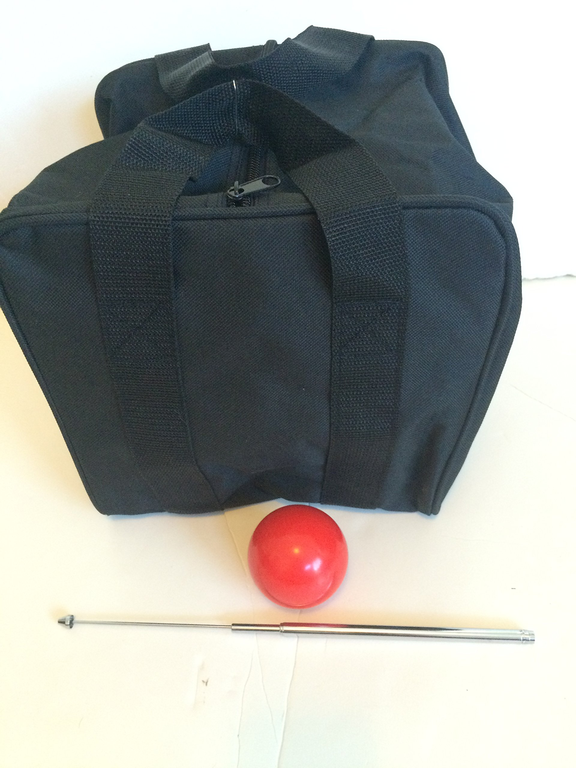 Unique Bocce Accessories Package - Extra Heavy Duty Nylon Bocce Bag (Black with Black Handles), red pallina, Extendable Measuring Device