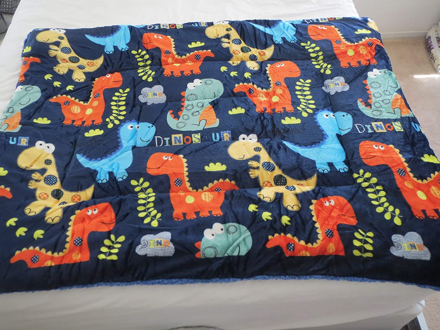 """Smiling Homes 2-ply Sherpa Baby (40""""x54"""") Plush Toddler Boy Blankets-Dinosaurs, 40x54 (inches), Blue"""