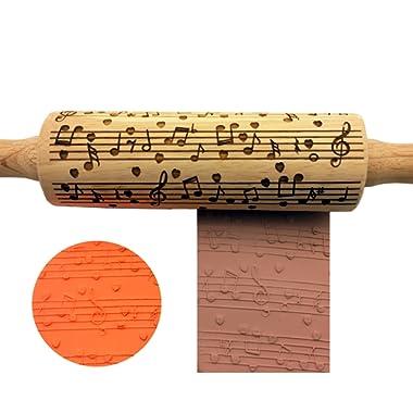 YIYATOO Music Embossing Rolling Pin,Beech wooden embossing rolling pin for embossed cookies