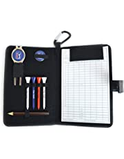 PGA Tour Real Leather Golf Organiser with Scorecard, Holder and Accessories - Black
