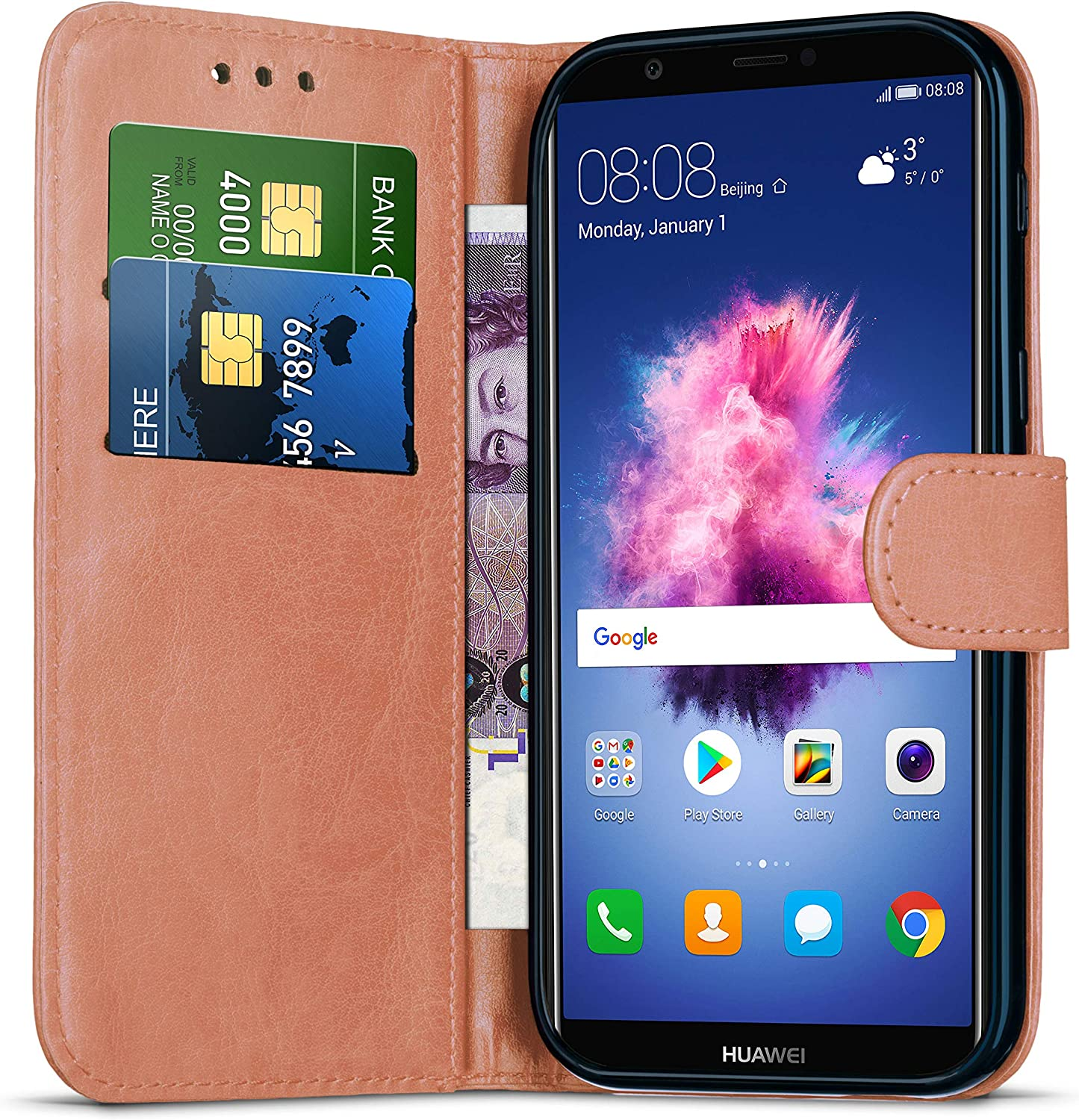 Huawei P Smart 2018 Case Notebook Shockproof Case for Huawei P Smart 2018 // LX2 // LX3 // L23 Kickstand Magnetic Closure Premium Leather Flip Wallet and Phone Case Card Holder Slots Dark Purple