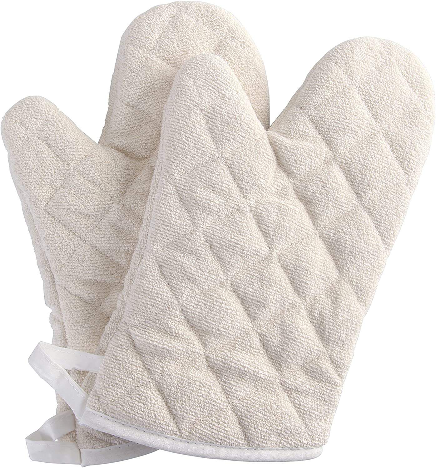 Terry Cloth Oven Mitts Heat Resistant to 482° F 13 Inch 100% Cotton Set of 2