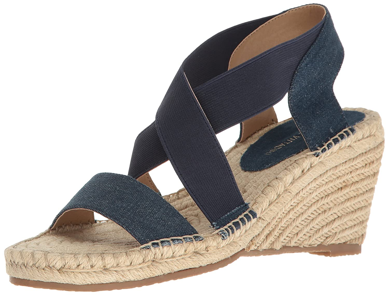ADRIENNE VITTADINI Footwear Women's Charlene Espadrille Wedge Sandal B01NCLUWD7 5.5 B(M) US Blue Denim