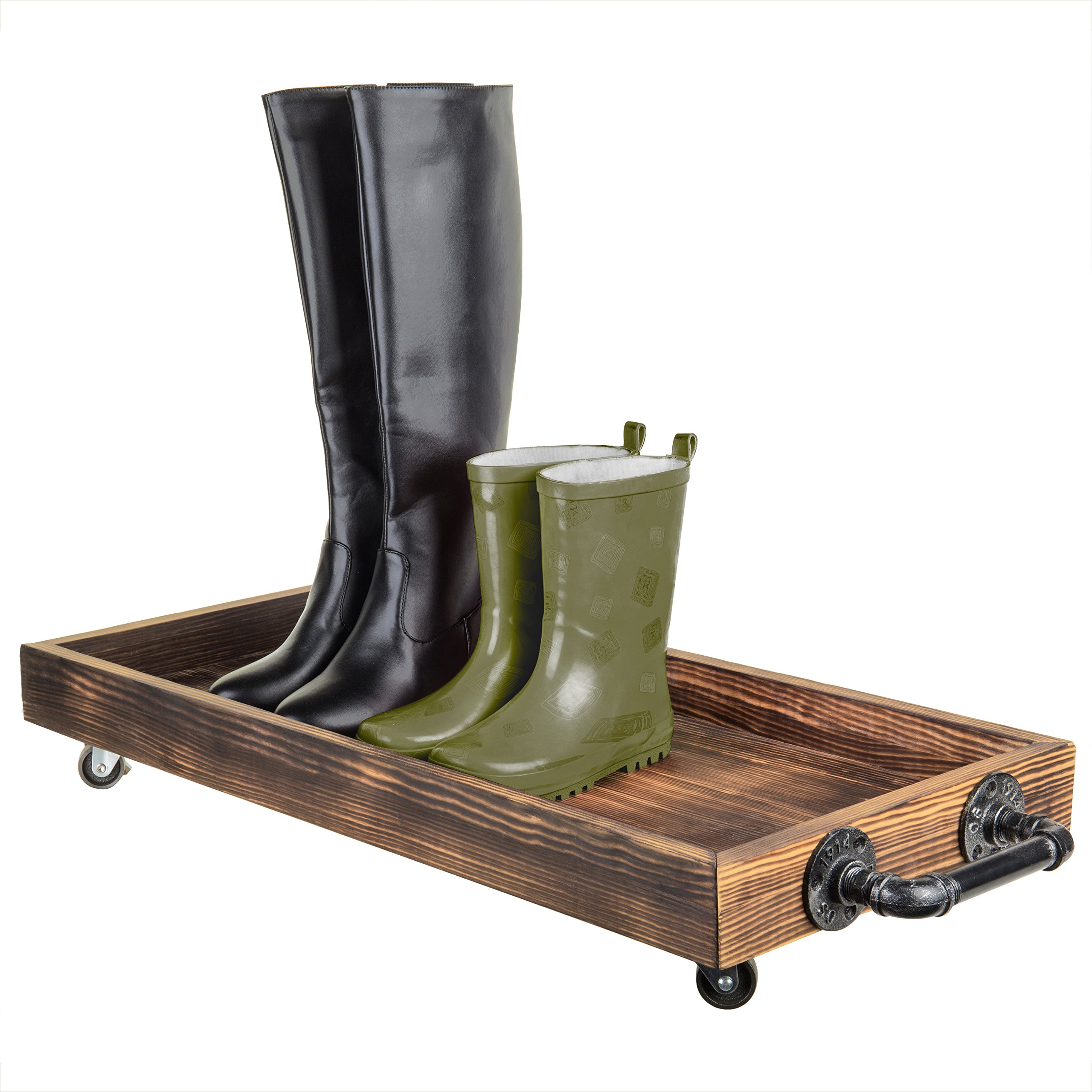 MyGift 30-Inch Rustic Wood Rolling Boot Tray with Metal Pipe Handles