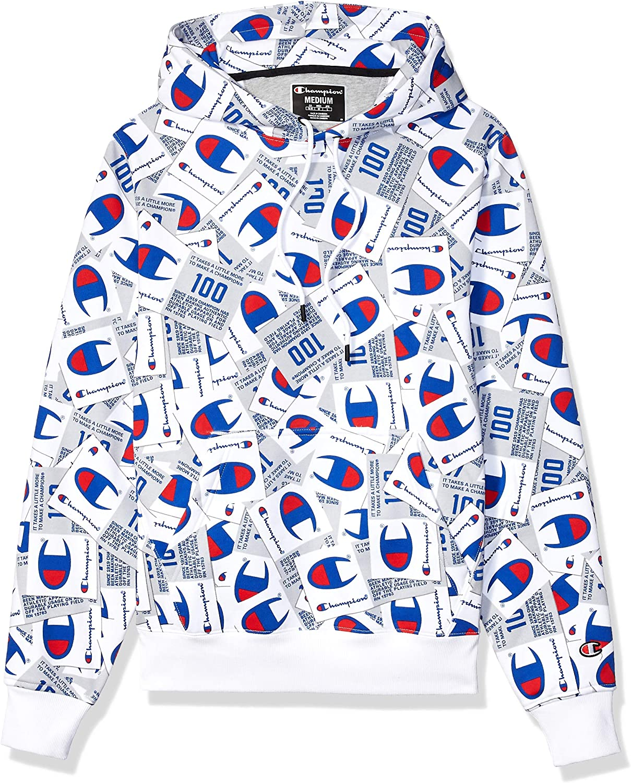 Champion Mens Super Fleece 2.0 Pullover Hood Jocktag AOP Hooded Sweatshirt