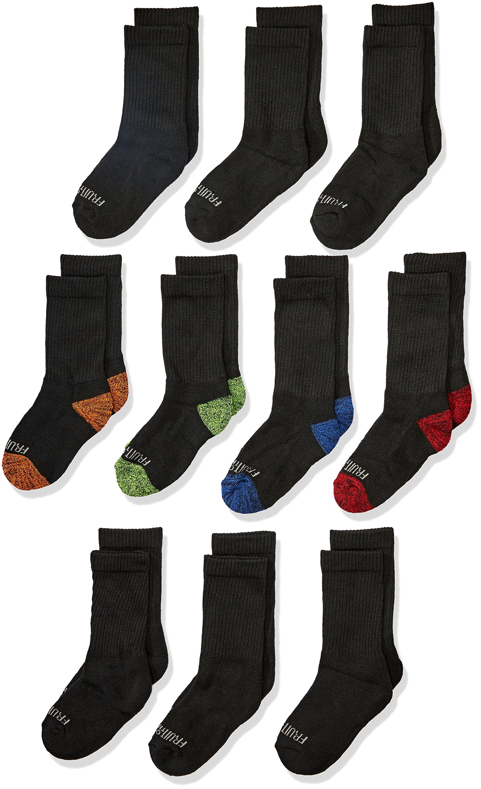 Fruit of the Loom Little Boys' 10-Pair Half Cushion Crew Socks, Black Assort, Shoe Size: 9–2.5 (Medium)