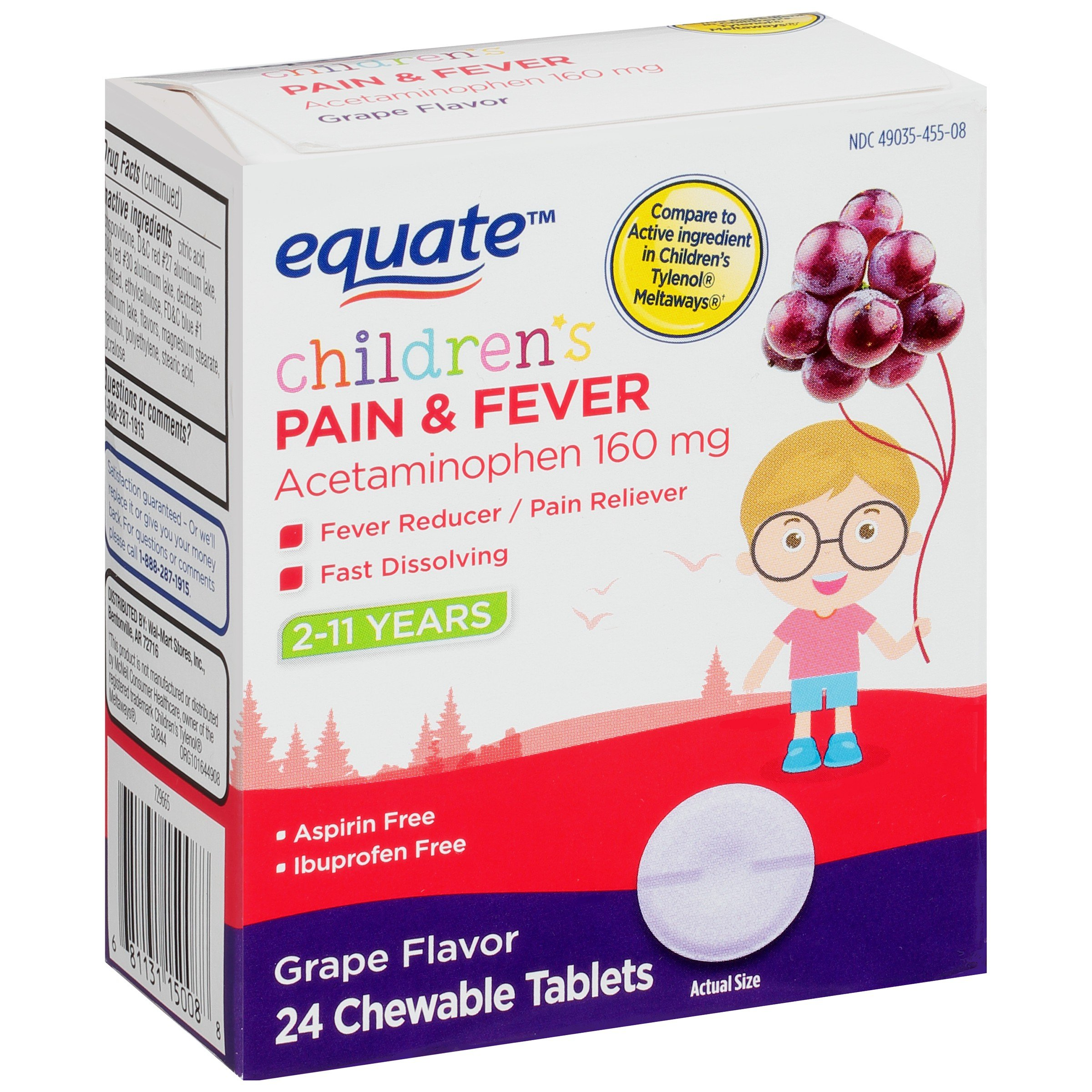Equate Children Pain Fever, Grape, 24 Chewable Tablets (Pack of 2)