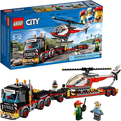 LEGO City Heavy Cargo Transport 60183 Toy Truck Building Kit with Trailer, Toy Helicopter and Construction Minifigures for Creative Play (310 Pieces): Toys & Games