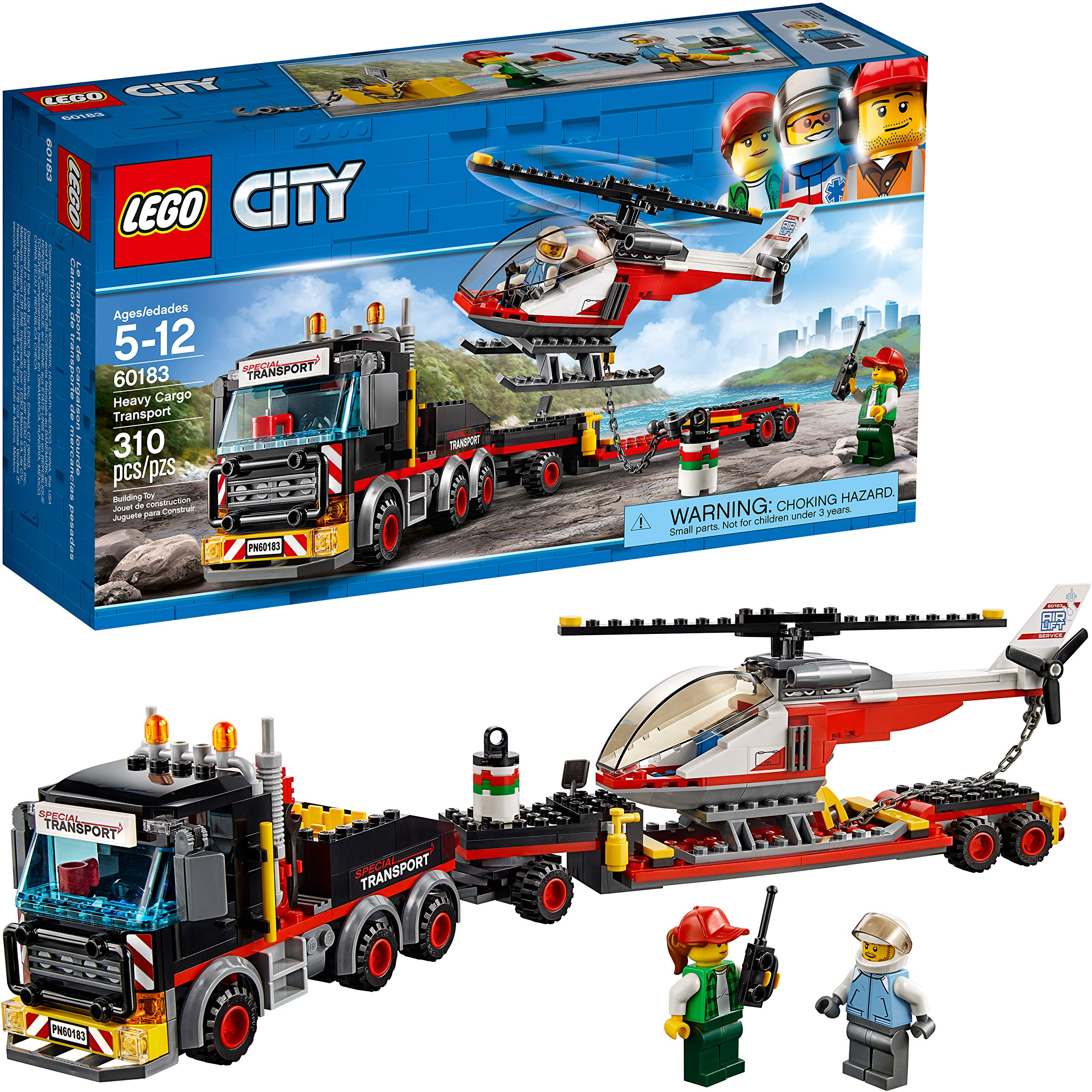 Lego City Heavy Cargo Transport 60183 Toy Truck Building Kit with Trailer, Toy Helicopter and Construction Minifigures for Creative Play (310 Pieces) by LEGO