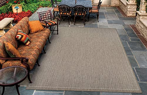 Couristan Recife Saddle Stitch Indoor Outdoor Area Rug Champagne Taupe, 5 10 x 9 2
