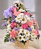 Pink & White Pastel Cut Flower Basket with Handwritten Card - Fresh Flowers Delivered with FREE UK Next Day in a 1hr Delivery Time-Slot 7 Days a Week - Gorgeous Front Facing Flower Arrangement