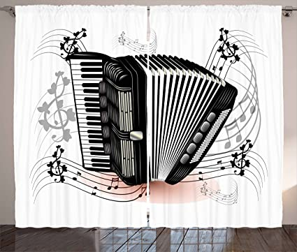 Lunarable Accordion Curtains Floral Instrument Creative Musical Notes Blooms Romantic Performance Living Room Bedroom