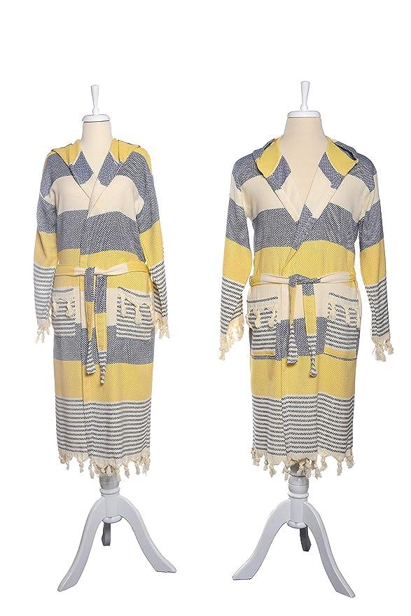 6222161770 Amazon.com  G O Design Turkish Bath Robes (Truva Peshtemal Robes) (Navy  Blue - Yellow